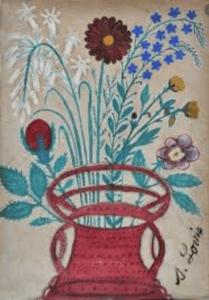 Fleurs dans un panier, circa 1910 - Aquarelle sur papier, 29 X 20 cm ©Musée d'Art et d'Archéologie de Senlis