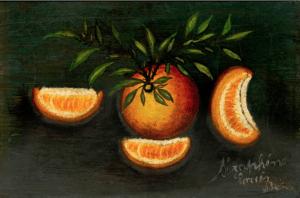 Nature morte : orange, quartier d'orange et feuillage, circa 1915 - Huile sur toile, 24,2 X 35,2 cm ©Musée d'Art et d'Archéologie de Senlis