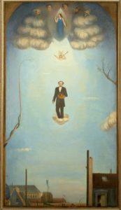 Ascension du Douanier Rousseau montant vers la gloire et entrant dans la postérité, 1926, Huile sur toile, 100 X 56 cm, Collection Pierre Guénégan