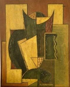 Cubisme ornemental, période de Berlin, 1922, Huile sur toile, 41 X 32,5 cm
