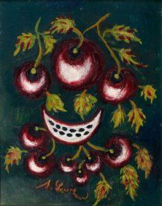 Nature morte aux cerises, circa 1923-1925 - Huile sur bois, 35 X 26,5 cm