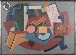 Composition au losange vert sur carré blanc, Auguste HERBIN, 1917, Huile sur toile, 46 X 64,5 cm